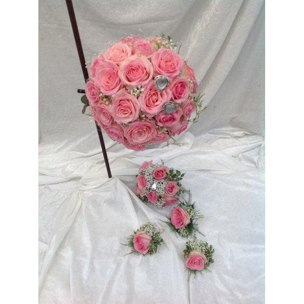 Rund rosa brudebukett