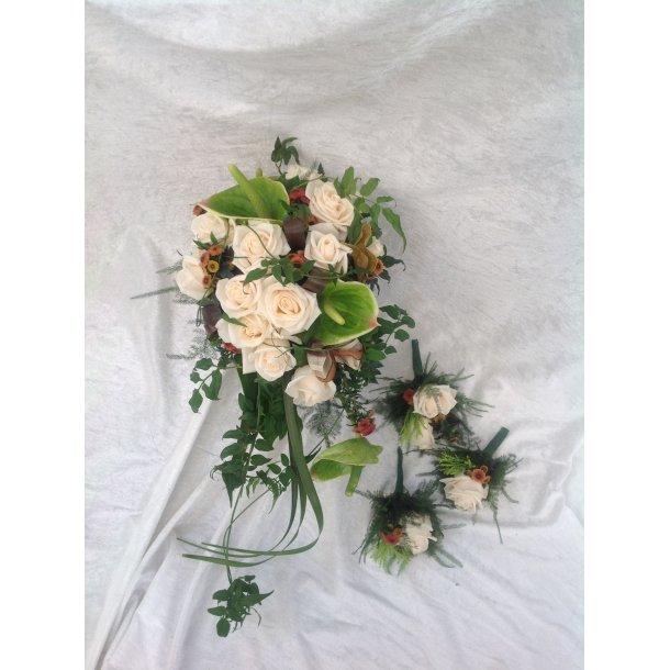 Brudebukett i varme farger