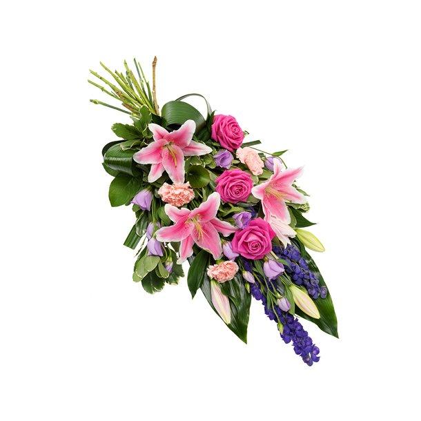 Rosa og lilla bårebukett med liljer